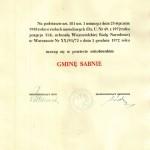 Uchwała Wojewódzkiej Rady Narodowej z 1 grudnia 1972 r. o utworzeniu Gminy Sabnie